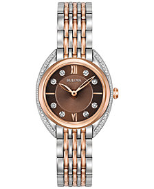 Bulova Women's Diamond Accent Two-Tone Stainless Steel Bracelet Watch 30mm 98R230