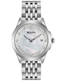 Bulova Women's Diamond Accent Stainless Steel Bracelet Watch 36mm 96P174
