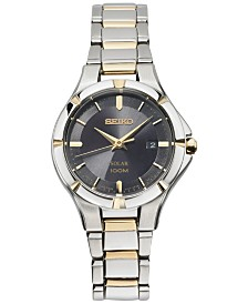 Seiko Women's Solar Dress Sport Two-Tone Stainless Steel Bracelet Watch 27mm SUT316