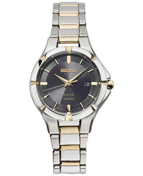 Seiko Women's Solar Dress Sport Two-Tone Stainless Steel Bracelet Watch 27mm SUT316
