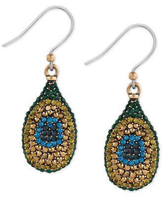Lucky brand gold tone peacock pav drop earrings jewelry for Macy s lucky brand jewelry