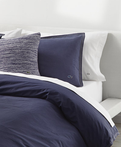CLOSEOUT! Lacoste Home Relaxed & Washed Indigo Blue King Duvet Set