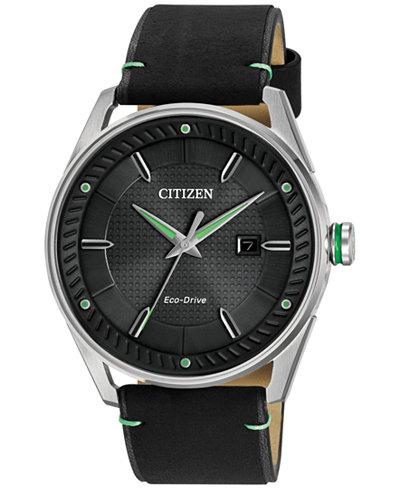 Citizen Drive from Citizen Eco-Drive Men's Black Leather Strap Watch 42mm BM6980-08E
