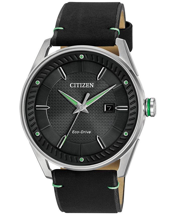 Citizen - Men's Drive Black Leather Strap Watch 42mm BM6980-08E