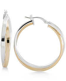 Two-Tone Overlapped Hoop Earrings in Sterling Silver and 14k Gold-Plate