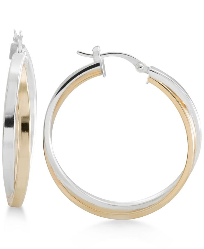 Macy's - Two-Tone Overlapped Hoop Earrings in Sterling Silver and 14k Gold-Plate