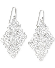 Geometric Filigree Drop Earrings in Sterling Silver