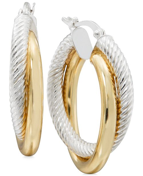 Macy's Two-Tone Textured Overlapped Hoop Earrings in Sterling Silver and 14k Gold-Plate