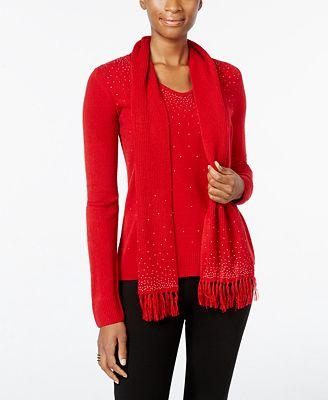 luxsoft embellished v neck sweater with scarf