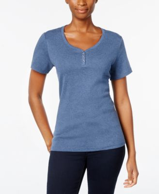 Image of Karen Scott Henley T-Shirt In Regular & Petite Sizes, Created for Macy's