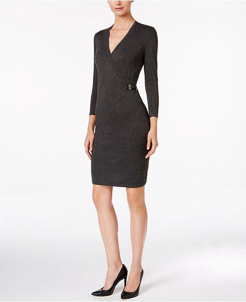 Calvin Klein Buckle Faux-Wrap Sweater Dress