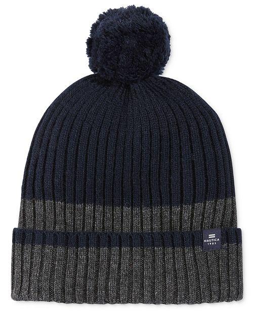 7814681ff4b Nautica Men s Fleece-Lined Striped Pom-Pom Beanie - Hats