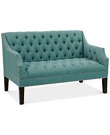Brooke Diamond Tufted Nail Button Settee, Quick Ship