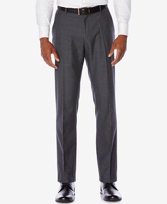 Perry Ellis Men's Slim-Fit Plaid Non-Iron Dress Pants - Pants ...