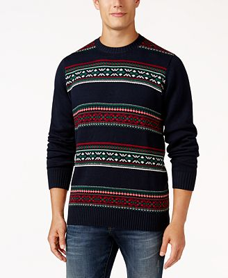 Weatherproof Men's Fair Isle Sweater, Classic Fit - Sweaters - Men ...