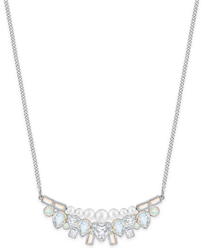 Swarovski Silver-Tone Imitation Pearl and Crystal Collar Necklace