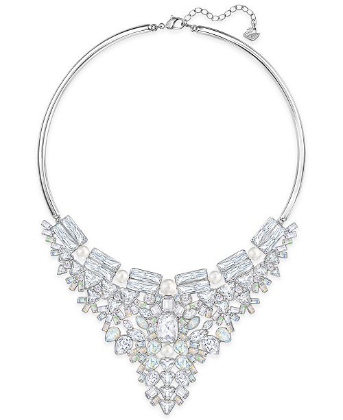 Swarovski Silver-Tone Imitation Pearl and Crystal Cluster Collar Necklace