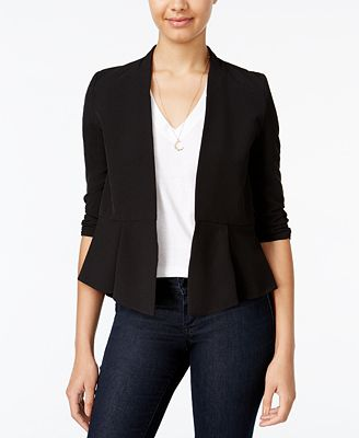 BCX Juniors' Ruched-Sleeve Open-Front Blazer