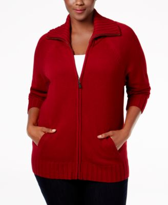 Karen Scott Plus Size Wing-Collar Cardigan, Only at Macy's
