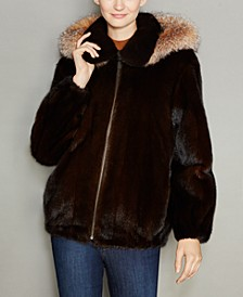 Mink Fur Hooded Bomber Jacket