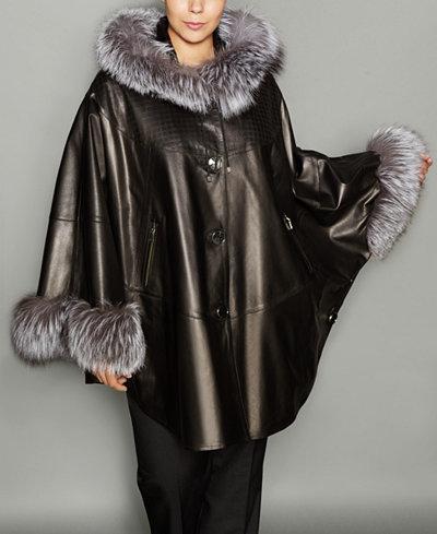The Fur Vault Plus Size Fox Fur Trim Leather Cape The