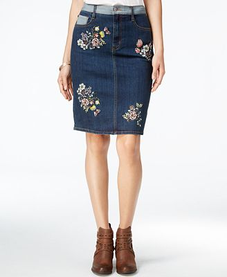 Buffalo David Bitton Embroidered Denim Skirt - Skirts - Women - Macy's