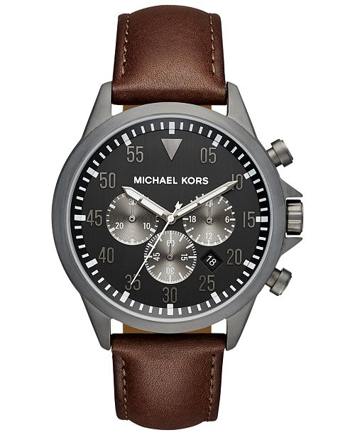 483b8ce5f188 ... Michael Kors Men s Chronograph Gage Chocolate Leather Strap Watch 45mm  MK8536 ...