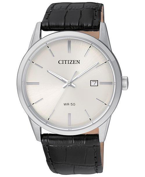 2416b8fc7 ... Citizen Men's Quartz Black Leather Strap Watch 39mm BI5000- ...
