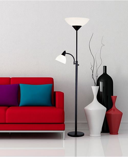 Adesso Piedmont Black Torchiere Floor Lamp Amp Reviews All Lighting Home Decor Macy S