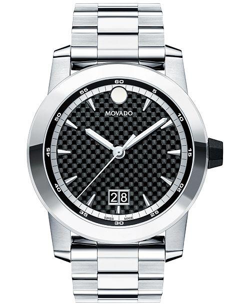 Movado Men's Swiss Vizio Stainless Steel Bracelet Watch 44mm 0607050