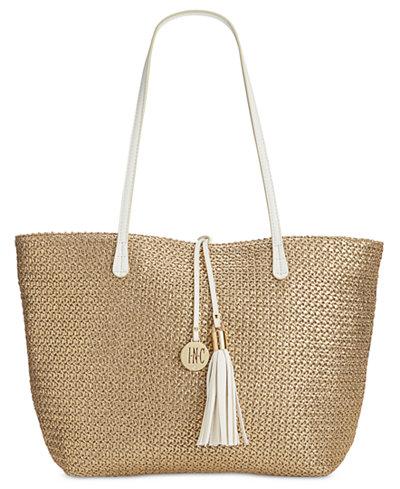 INC International Concepts La Izla Straw Beach Bag, Only at