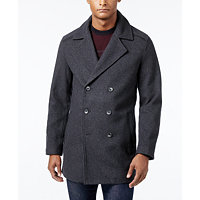 Alfani Faux Leather Trim Men's Peacoat (Deep Black/Charcoal Heather)