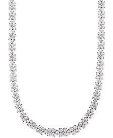 Arabella Swarovski Cubic Zirconia Flower Statement Necklace in Sterling Silver