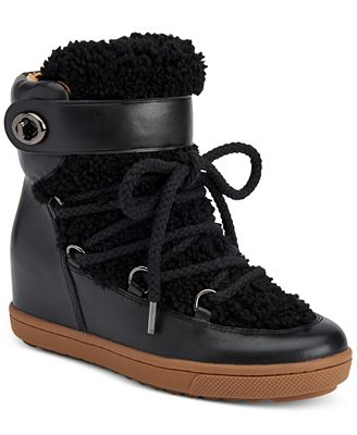 Coach Monroe Shearling Lace Up Wedge Booties