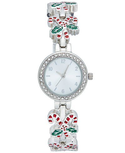 Women's Silver-Tone Candy Cane Bracelet Watch 27mm, Only at Macy's