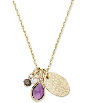 Image of Inspired Life Gold-Tone Multi-Charm Stone Pendant Necklace