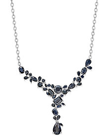 Black Sapphire Necklace (20 ct. t.w.) in Sterling Silver, Created for Macy's