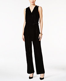 NY Collection Petite Velvet Belted Wide-Leg Jumpsuit