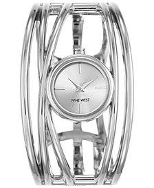 Nine West Women's Silver-Tone Open Bangle Bracelet Watch 22mm NW-1975SVSB