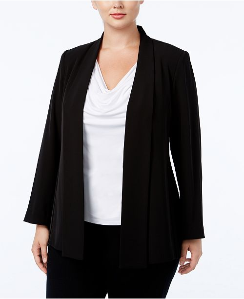 Calvin Klein Plus Size Open-Front Soft Jacket