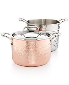 Lagostina Martellata Tri-ply Copper 6-Qt. Pastaiola Set with Insert & Lid
