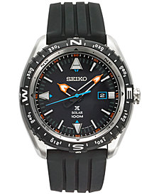 Seiko Men's Solar Prospex Black Silicone Strap Watch 46mm SNE423