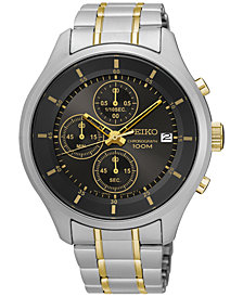 Seiko Men's Chronograph Special Value Two-Tone Stainless Steel Bracelet Watch 43mm SKS543