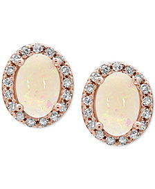 EFFY® Aurora Opal (9/10 ct. t.w.) and Diamond (1/8 ct. t.w.) Stud Earrings in 14k Rose Gold