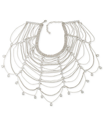 Carolee Silver-Tone Multi-Crystal and Chain Collar Necklace