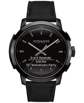 4f613c5629 COACH Men's Bleecker Smart Black Leather Strap Smart Watch ...