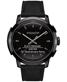 COACH Men's Bleecker Smart Black Leather Strap Smart Watch 44mm 14602335