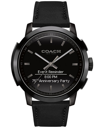 coach men s bleecker smart black leather strap smart watch 44mm coach men s bleecker smart black leather strap smart watch 44mm 14602335