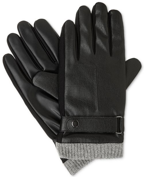 Isotoner Signature Isotoner Men's Faux Leather smarTouch® Gloves