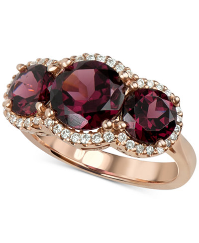 Rhodolite Garnet (5 ct. t.w.) and Diamond (1/4 ct. t.w.) Three Stone Ring in 14k Rose Gold